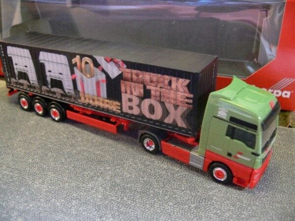 1 87 Herpa MAN TGX XXL Euro 6 conteneur-SZ rappelée 10 ans camion IN THE BOX...