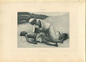 ANTIQUE HAGAR ISMAEL DESERT BIBLICAL STORY LOVE COMPASSION MOTHER SON ART PRINT