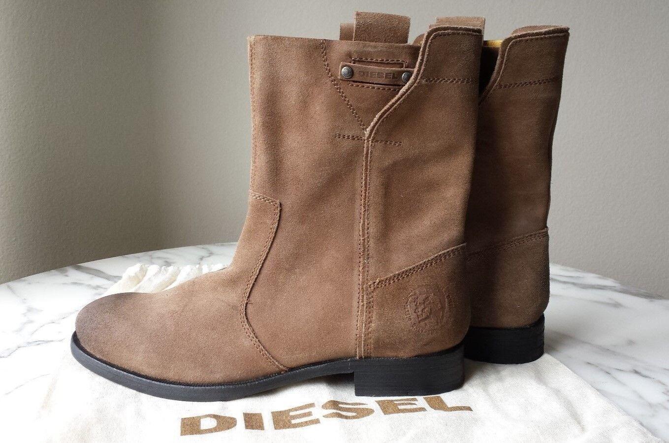 DIESEL Men's Brando bikerboots Camel color suede leather Size US 10  NEW