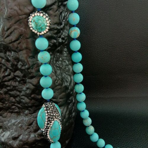 round Blue Turquoise Pave Crystal 37/'/'  Necklace