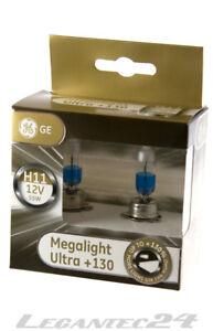 2er Set h11 12 Volt 55 Watt pgj19 ge53110xnu General Electric Megalight Ultra +130%