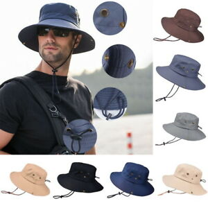 Summer-Men-039-s-Sun-Hat-Bucket-Fishing-Hiking-Cap-Wide-Brim-UV-Protection-Hat