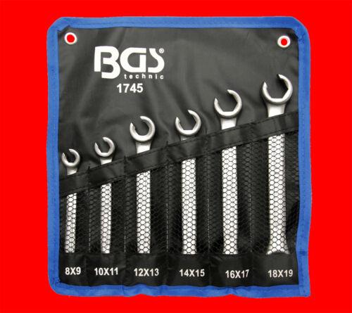 6-tlg Offene Bremsleitungsschlüssel Leitungsschlüssel für Bremsen 8-19mm B1745