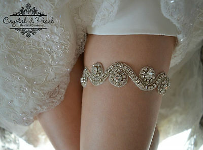 HOPE VINTAGE CRYSTAL LACE GARTER Wedding Bride Rhinestone Luxury Glam Diamante