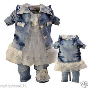 4539a663e Magnificent Baby Girls 3 Piece Cotton Denim Lace Dimante Pearls ...