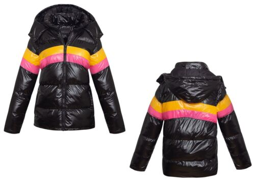 Womens Quilted Hood Hooded Puffer Colour Block Shine Black Warm Jacket Coat