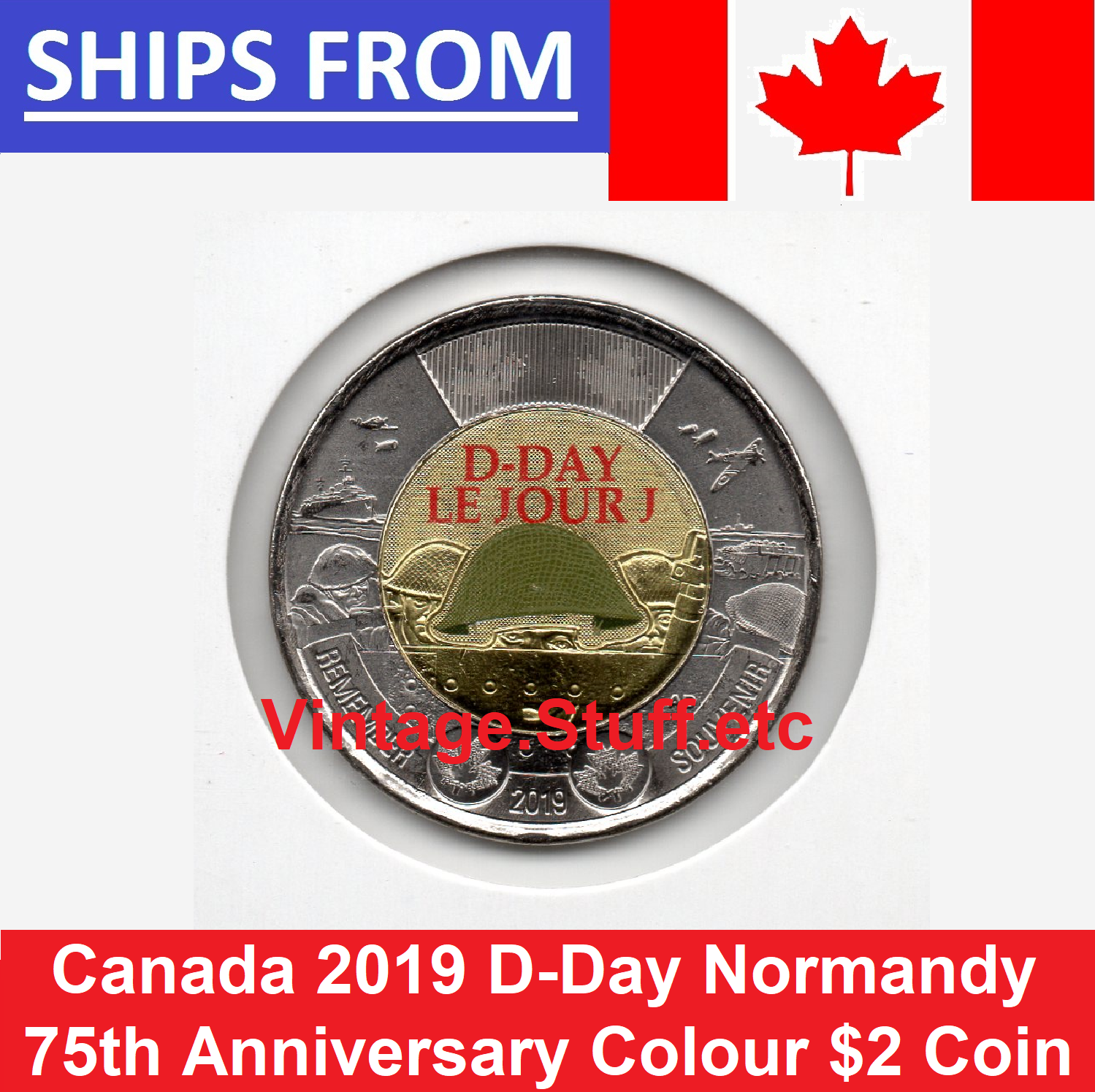 Details about 2019 Canada 75th Anniversary D-Day DDAY $2 Coloured Toonie  WW2 WWII UNC Color