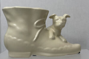 "Swanee USA High Button Shoe Planter Cream Dog and Boot Vase ""condition """
