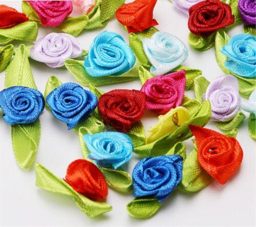 DIY Wedding Flower Satin Decor Bow Appliques Craft Sewing Leaves Ribbon Rose