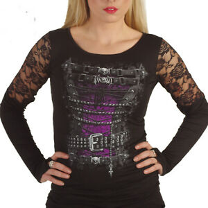SPIRAL-DIRECT-Ladies-Goth-WAISTED-Pirate-Corset-Lace-Top-L-Sleeve-ALTERNATIVE