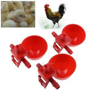10pcs Poultry Chicken Coop Feeder Automatic Water Drinking Cup Bowl Fowl Drinker