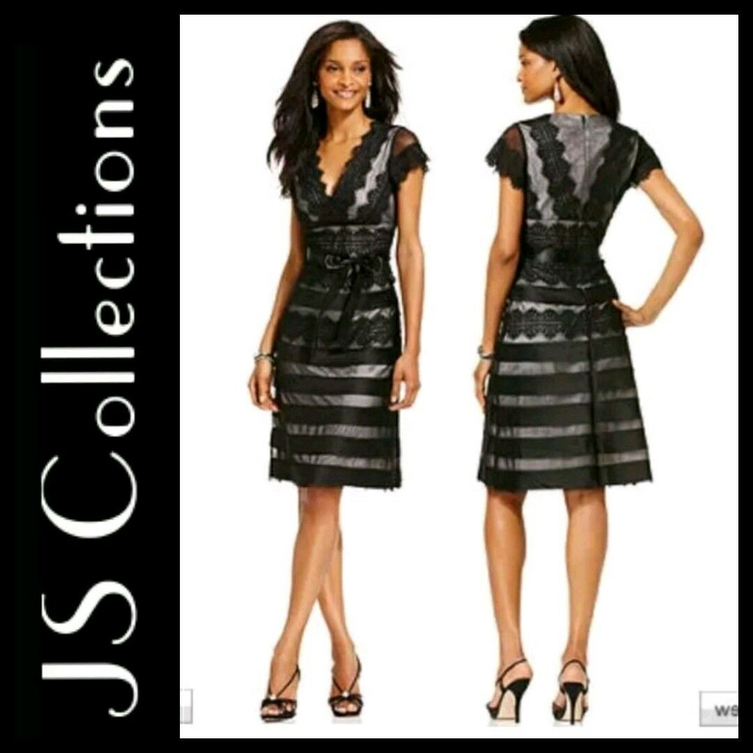 JS Collections schwarz Nude Lace Eyelash Tierot Cocktail LBD Dress 12 M3020