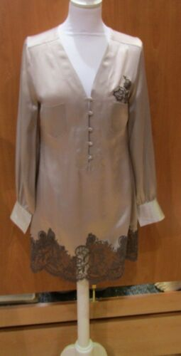 SHIRT MARJOLAINE model TEMPTATION 100%SILK Color SmokeNuts Size 3642