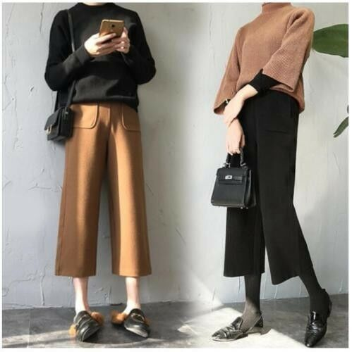 gamba Pantaloni vintage casual larga alta a alta a a vita ampi misto vita in donna lana da qRgErRwx