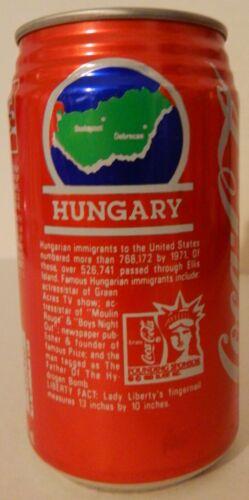 1987 12 oz COKE ELLIS ISLAND - HUNGARY BOTTOM OPENED
