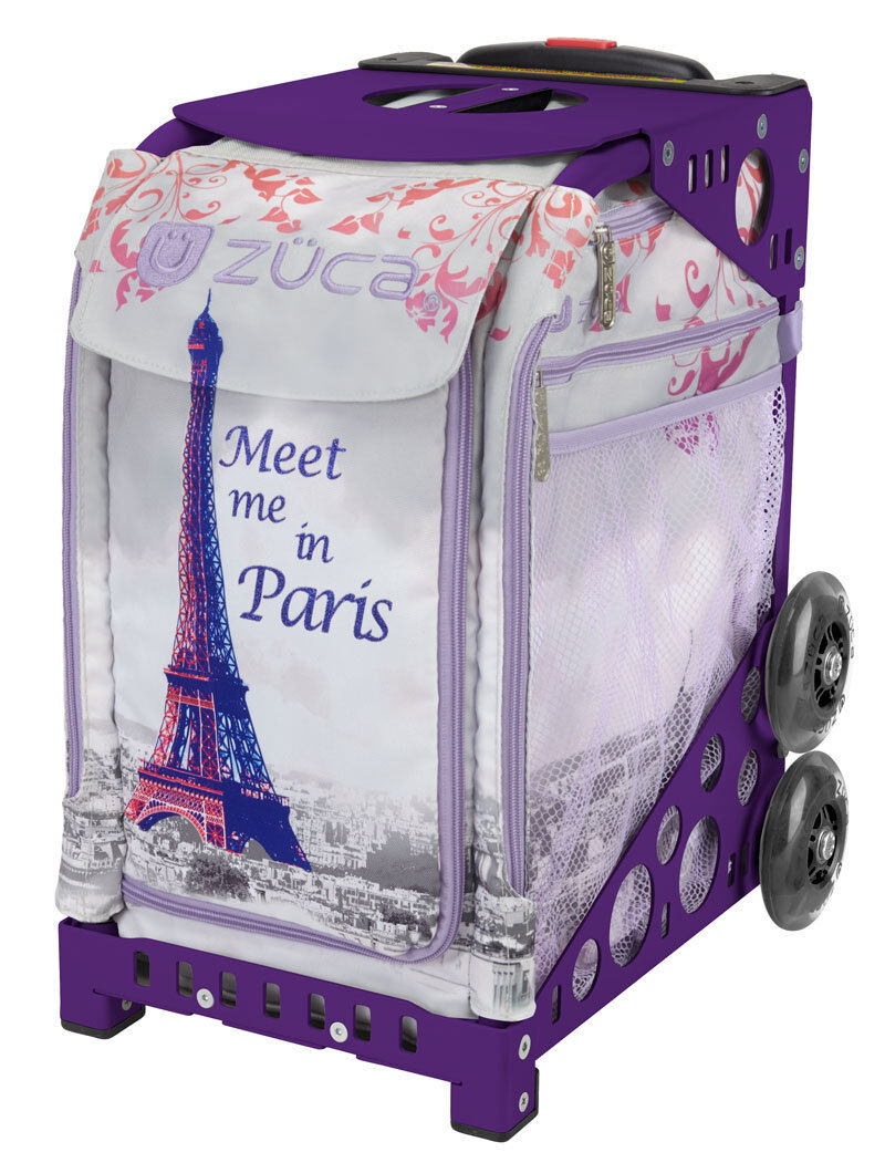 ZUCA Bag MEET ME IN PARIS  Insert & Purple Frame w Flashing Wheels - FREE CUSHION  save up to 50%