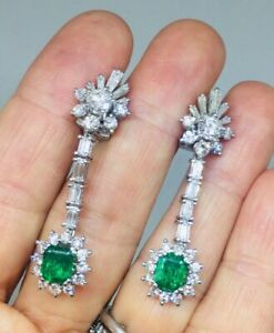 1950-039-s-Estate-Pair-of-5-00-Carat-Emerald-Vivid-White-CZ-Dangle-Pendant-Earrings