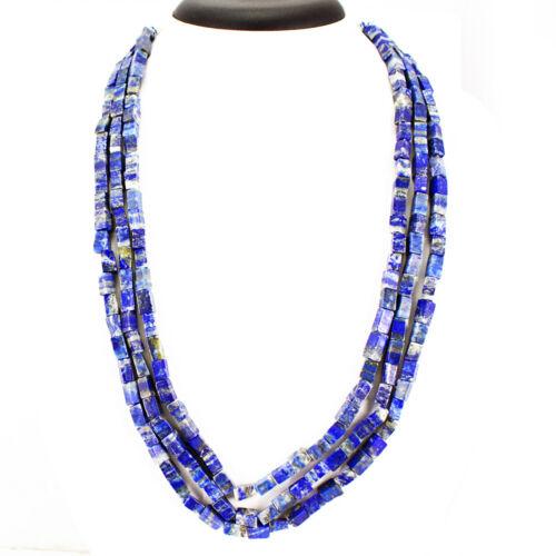 Véritable 480.00 cts naturel ligne 3 bleu lapis lazuli perles collier de pierres précieuses