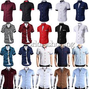Stylish-Mens-Casual-Dress-Shirts-Short-Sleeve-Slim-Fit-Business-Tee-Shirt-Tops