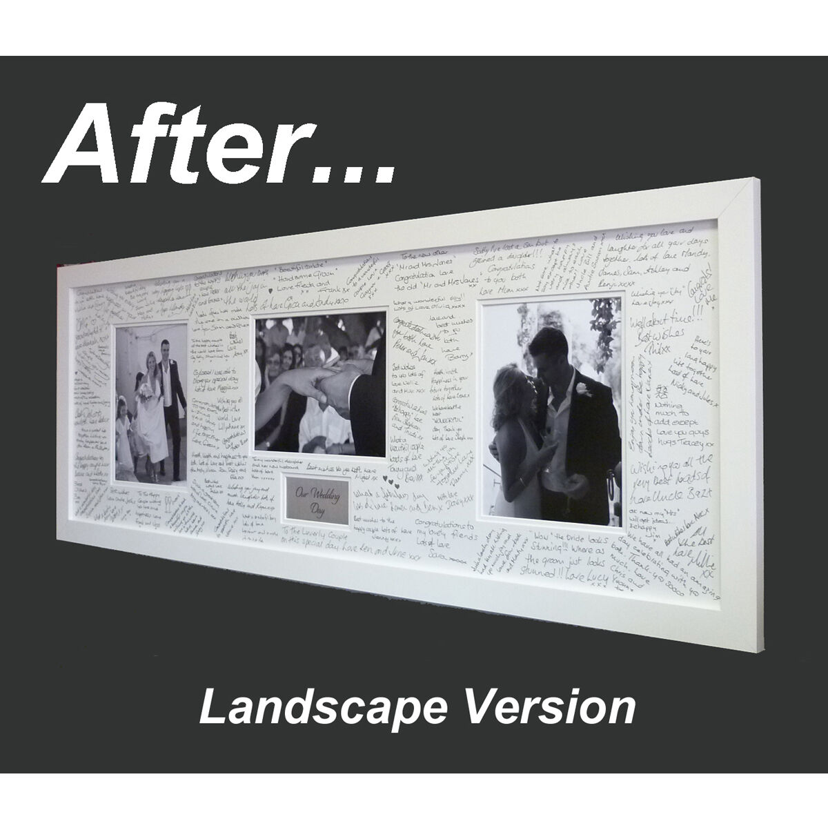 Panoramic Wedding Guest Book Signing Frame - Contemporary alternative - Free Pen