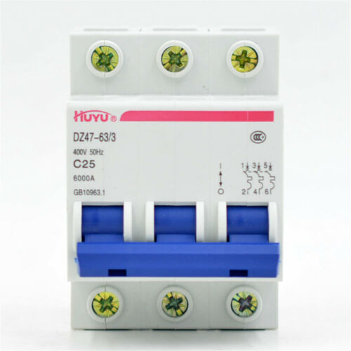 Miniature Circuit Breaker 3P 25A DZ47-63//3P C25A DIN Rail Mount Circuit Breaker