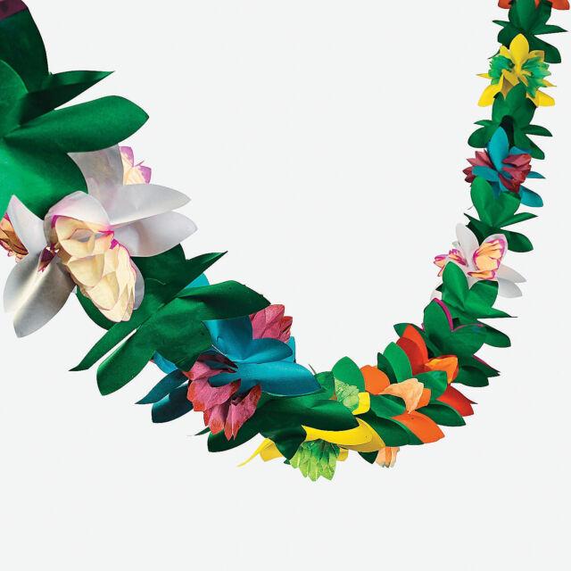 1 LUAU Tiki Hawaiian Tropical Party Decorations FLOWER TISSUE GARLAND 9ft