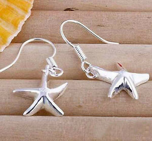 2e7f9bc014de Details about  UK  925 SILVER PLT STARFISH STAR DROP DANGLE HOOK EARRINGS  SHOOTING NORTH BEACH