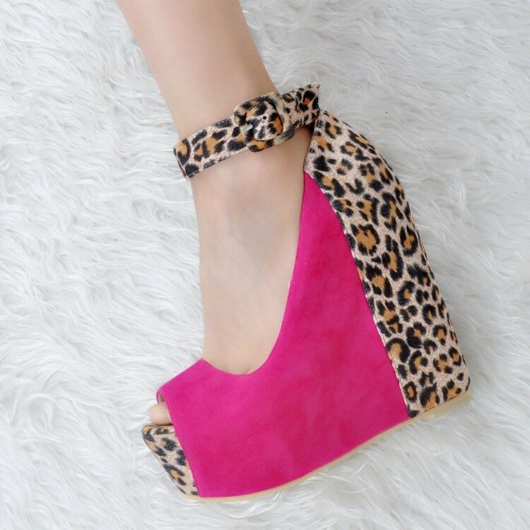 Fashion Ladie Clubwear Super High Wedge Peep Toe Ankle Strap Party Shoes Leopard