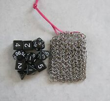 Set of 10 Dice with Chainmail / Chain Mail RPG Dice Bag. Bag is 8.5cm x 6.5cm
