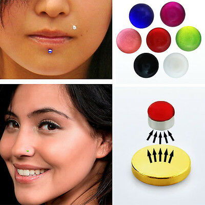 1 4pc Fake Magnet Uv Colored Magna Nose Ear Lip Stud Illusion Non