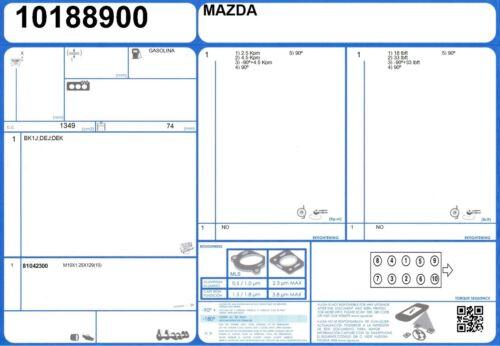 10//2007- Cylinder Head Bolt Set MAZDA 2 16V 1.5 103 ZY-VE