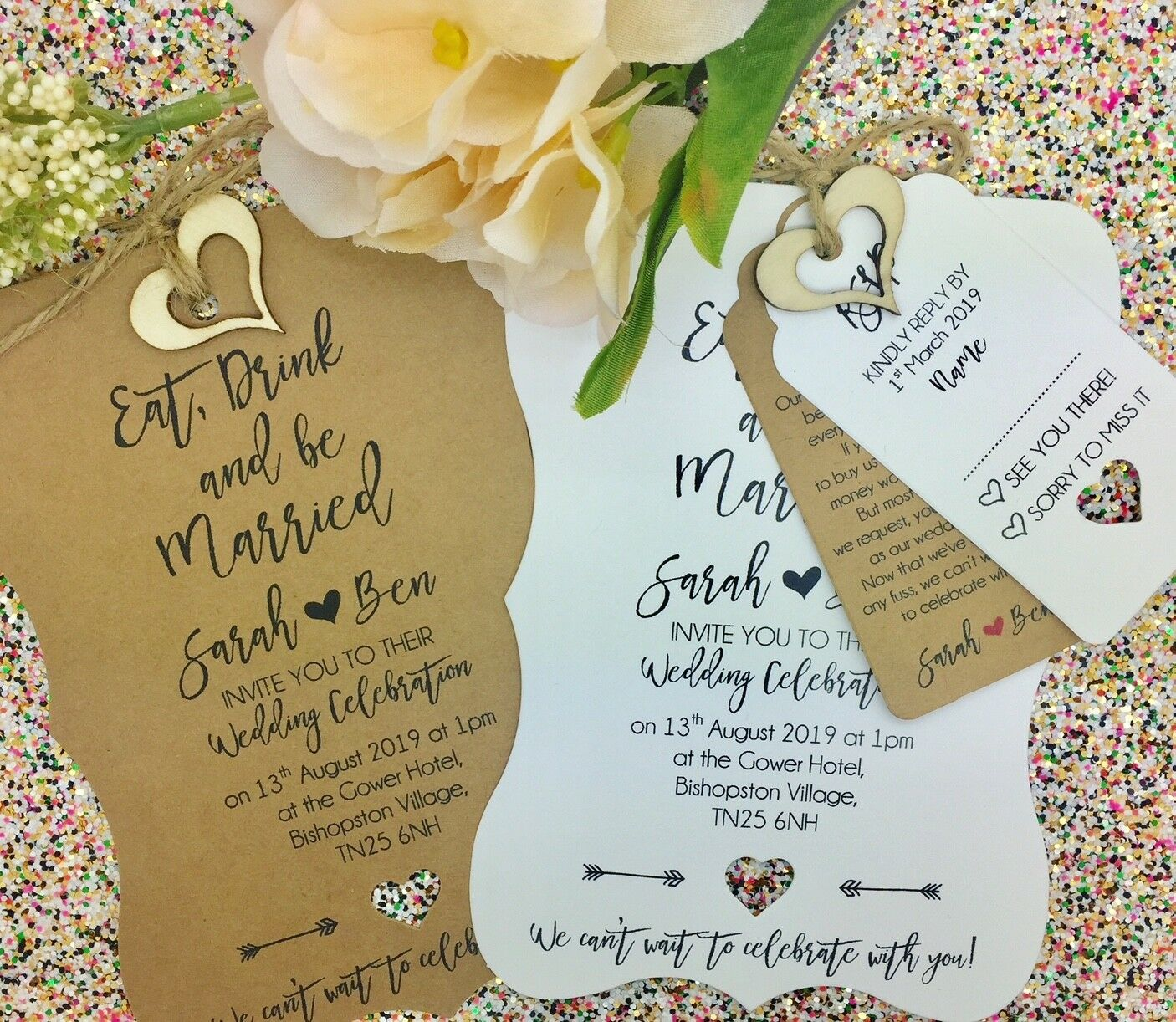 Eat, Drink and Be Married, Rustic Wedding Invitation Bundle