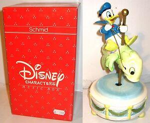 Disney-Musica-Scatola-Schmid-Porcellana-Donald-Giostre-Pesce-Carillon-Figura