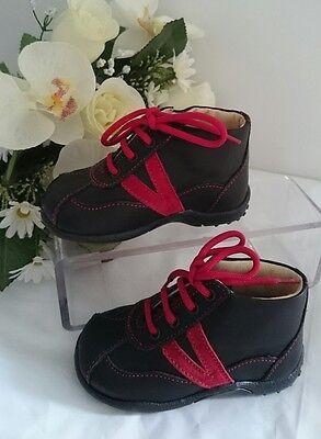 BABY Halbstiefel Kinder Schuhe MADE IN ITALY Gr. 20 Schwarz Rot LEDER NEU