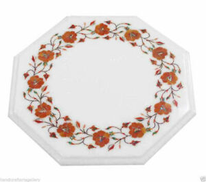 White Marble Coffee Center Table Top Carnelian Inlay Marquetry Handicraft Decors