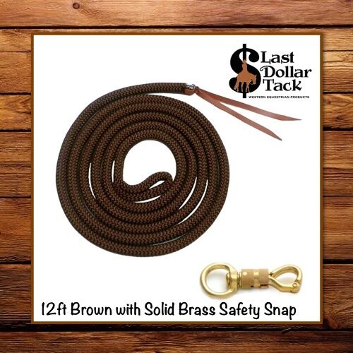 12FT DELUXE BROWN HORSEMANSHIP ROPE LEAD LINE+ BRASS SWIVEL SNAPPARELLI WESTERN