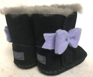930a4fecb33 Details about UGG Australia Kids Baby Girl's Cassie Bow Infant Black Boot  XS US 0-1 Infant M