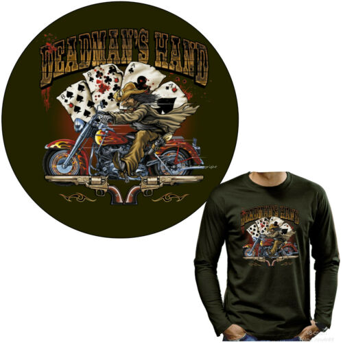 4290 Olive LS Biker T-shirt manches longues Poker Rétro Moto Rocker