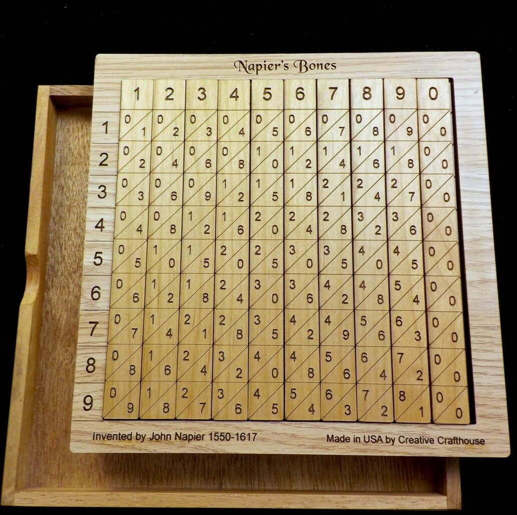 Napiers Bones math set with base, cover &2 sets of rods - 1617 Math Calculator