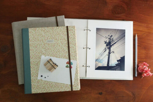Rubber Band Ring Binder Cover Slip in Photo Album 5x7 22 Photos Pocket Type