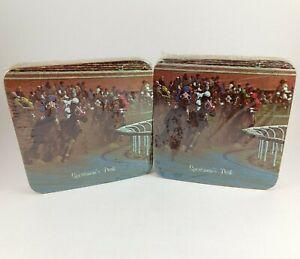 Sportsman-039-s-Park-Horseracing-Drink-Coasters-Barware-Vintage-NEW-Sealed-2-4-Packs
