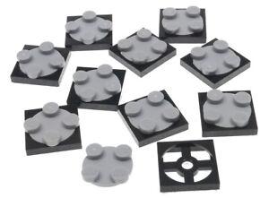 LEGO-10-x-flache-Drehscheibe-2x2-schwarz-hellgrau-3680c02-3680-3679-NEUWARE