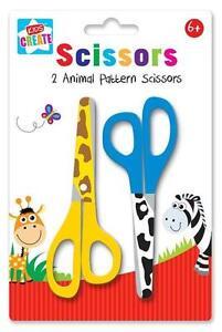 2-X-Stampa-Animale-Motivo-per-Bambini-Sicurezza-Forbici-Arts-amp-Craft-Scuola