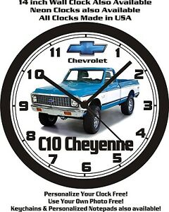 CLOCK CHEYENNE FREE PICKUP WALL CHEVROLET C10 1972 SUPER SHIP USA wgpYPxq
