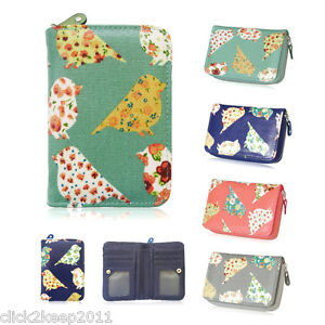 Ladies-Girls-Oilcloth-Pretty-Floral-Birds-Short-Zip-Purse-Coin-Purse-Wallet