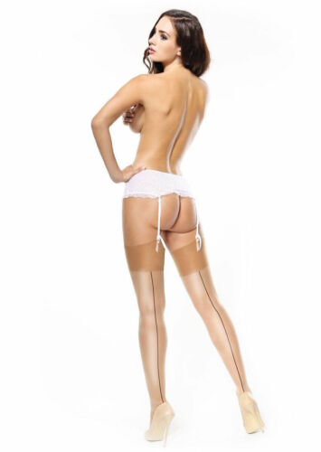 Belt Required Miss O Gloss Contrast Back Seam Stockings 15 Denier