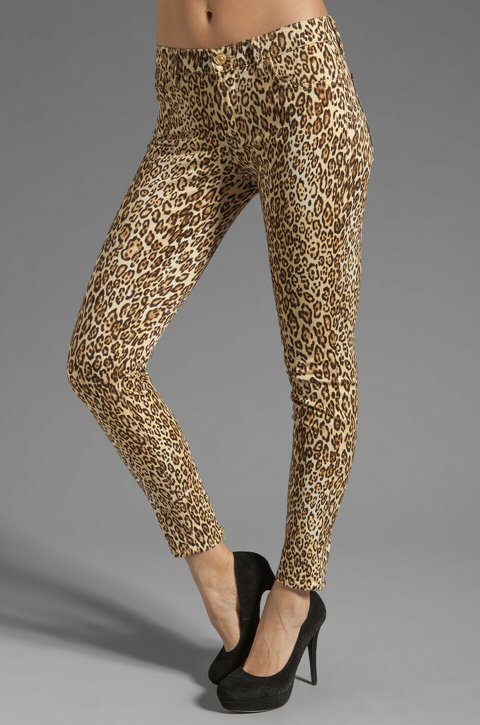 NEW 7 FOR ALL MANKIND  THE SLIM CIGARETTE JEANS IN CHEETAH PRINT SZ 23