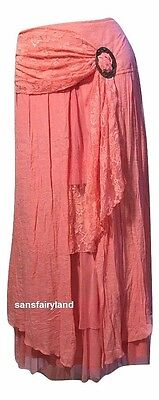 Pretty Angel Size L, Coral Boho Skirt Lined Ruffles Antique Buckle 27114 NWT