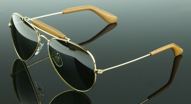 POLARIZED NEW Genuine RAY-BAN Aviator Leather Sunglasses RB 3422Q 001/M9 58 MM