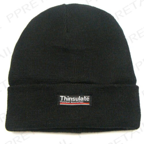 MENS THINSULATE BLACK THERMAL BEANIE HAT Winter Hiking Walking Cycling Skiing